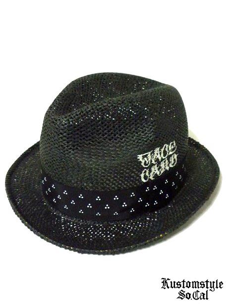 画像1: FACE CARD THREE DOT RIBBON STRAW HAT -BLACK-  (1)