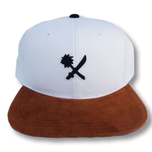 "画像1: US VESUS THEM(アスバーサスゼム)""ALAMITOS"" SNAP BACK キャップ WHITE/BROWN SUEDE (1)"