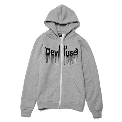 画像1: Deviluse(デビルユース)Logo Blood Zip Hooded (GRAY) (1)