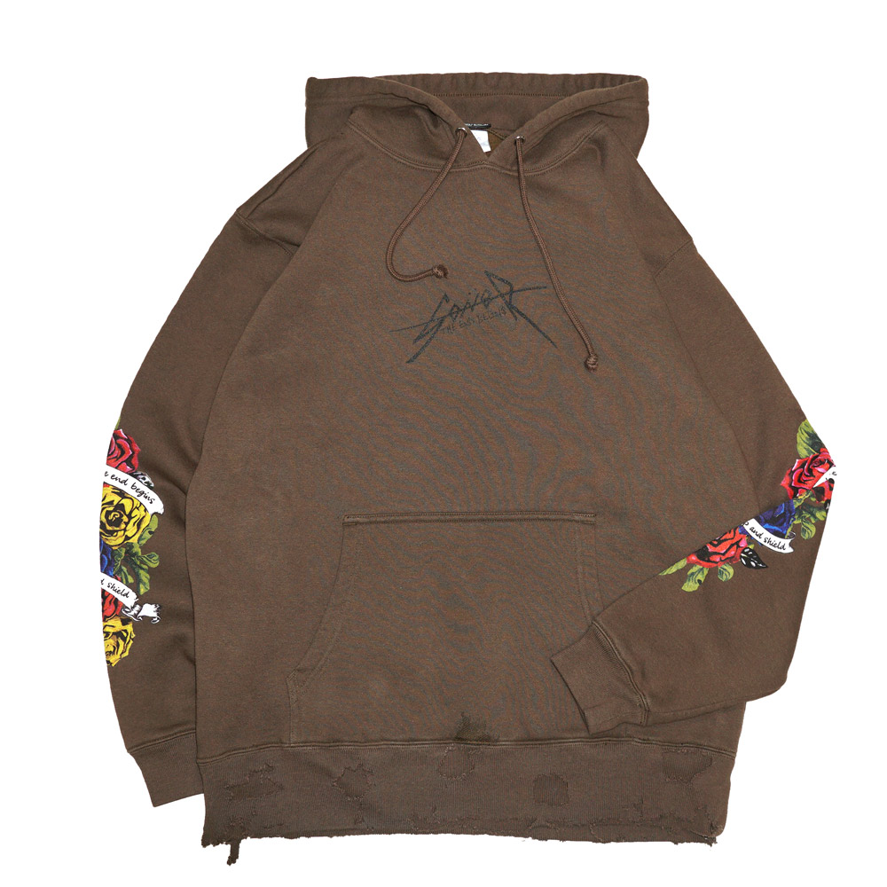 画像1: GoneR(ゴナー)Rose Sleeve Sweat Parka / -BRWN- (1)