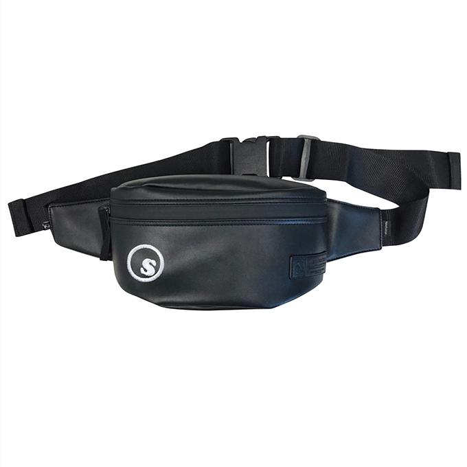 画像1: seedleSs(シードレス)sd PU waist bag cylinder PU M /-BLK- (1)