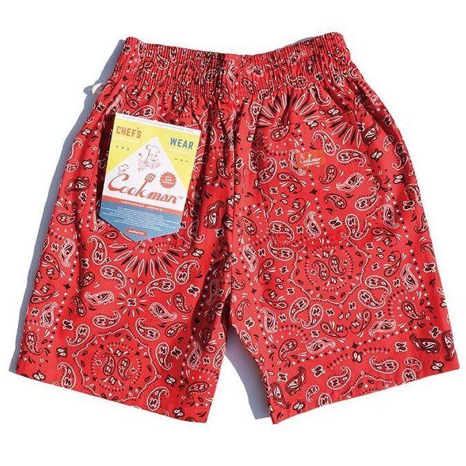 画像1: COOKMAN(クックマン)Chef Short Pants「Paisley」  /-RED- (1)