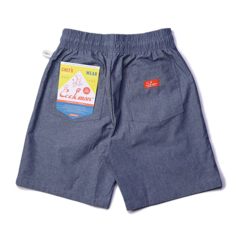 画像1: COOKMAN(クックマン) Chef Pants Short Chambray Light Blue (1)